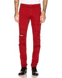 Balmain - Destroyed Zip Jeans - Lyst