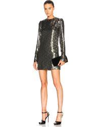 Saint Laurent - Printed Long Sleeve Mini Dress - Lyst