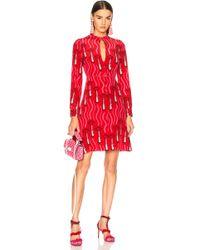 Valentino - Chiffon Lipstick Waves Printed Mini Dress - Lyst