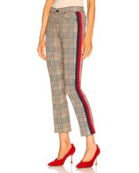 Mother - Insider Ankle Cotton Check Trousers - Lyst