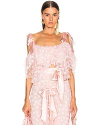 Rodarte - Embroidered Bow Tiered Off The Shoulder Blouse - Lyst