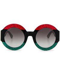dffe3b580 Gucci Web Stripe Acetate Oversized Round Sunglasses - Lyst
