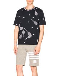 Thom Browne - Jersey Cotton Racket Embroidered Tee - Lyst