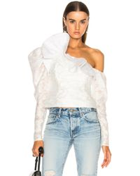 b03b1ef171ea3e Self-Portrait Broderie-anglaise Trim Cotton-blend Top in White - Lyst