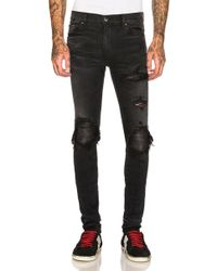 Amiri Mx1 Leather Patch Skinny Jeans - Black