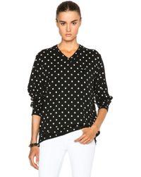COMME DES GARÇONS PLAY - Wool Jersey Dot Print Black Emblem Sweater - Lyst