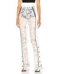 David Koma - Side Snap Lace Trouser Trousers In White & Black - Lyst