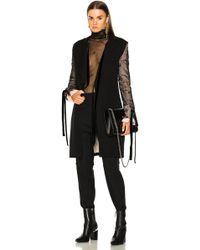 Ann Demeulemeester   Lace Sleeve Tie Back Coat   Lyst