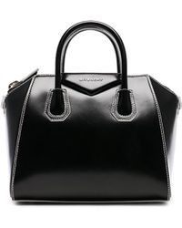 Givenchy - Small Smooth Shiny Leather Antigona With White Details - Lyst