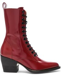 Chloé - Rylee Shiny Leather Lace Up Buckle Boots - Lyst