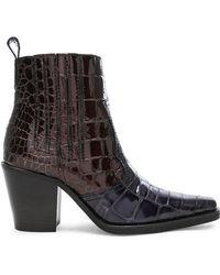 Ganni - Croc Embossed Callie Boots - Lyst