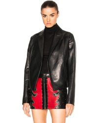 Anthony Vaccarello - Cropped Gathered Back Leather Blazer - Lyst