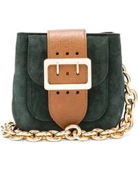 Burberry Prorsum - Small Square Buckle Suede And Leather Shoulder Bag - Lyst
