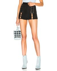 Mugler - Suede Lace Up Shorts In Black - Lyst