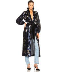 Johanna Ortiz - Wasai Lurex Crepe Kimono In Midnight & Silver Tangled Garden - Lyst