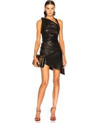 Saint Laurent - Draped Leather Mini Dress - Lyst