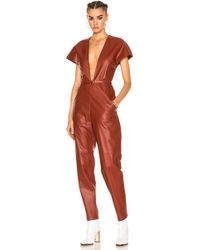 Zeynep Arcay - V-neck Leather Jumpsuit In Brick - Lyst