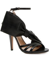 Valentino - Leather Side Bow Ankle Strap Sandals - Lyst