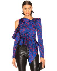 Self-Portrait - Printed Frill Top - Lyst