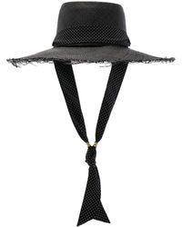 Sensi Studio - Long Brim Boater Hat With Frayed Brim - Lyst