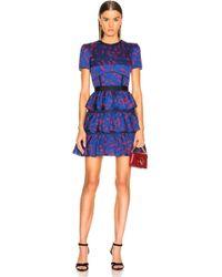 Self-Portrait - Tiered Printed Mini Dress - Lyst