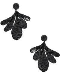 Oscar de la Renta - Sequin Leaf Earrings - Lyst
