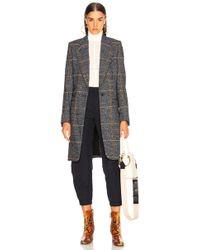 Chloé - Prince De Galles Wool Mix Check Coat - Lyst