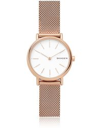 Skagen - Signatur Slim Rose Gold-tone Steel-mesh Watch - Lyst