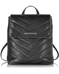 Armani Jeans - Black Quilted Eco Leather Backpack - Lyst