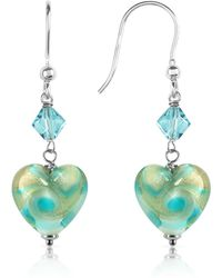House of Murano - Vortice - Turquoise Swirling Murano Glass Heart Earrings - Lyst