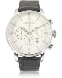 LOCMAN - 1960 Stainless Steel Men's Chronograph Watch W/brown Croco Embossed Leather Strap - Lyst
