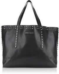 Jimmy Choo - Pimlico Black Leather Tote Bag W/pearl Studs - Lyst