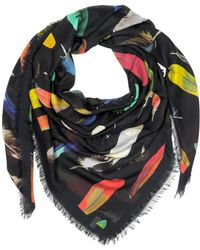 Paul Smith - Feather Printed Modal Silk And Cashmere Men's Wrap - Lyst