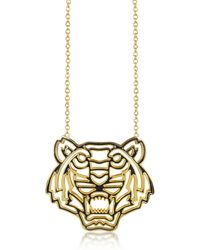 KENZO - Gold Plated And Black Lacquer Tiger Head Necklace - Lyst