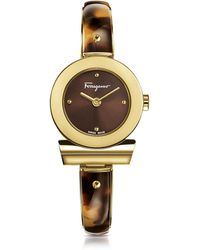 Ferragamo - Gancino Gold Ip Stainless Steel And Brown Acetate Women's Watch W/brown Dial - Lyst
