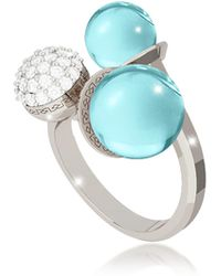 Rebecca - Boulevard Stone Rhodium Over Bronze Ring W/hydrothermal Turquoise Stones And Cubic Zirconia - Lyst