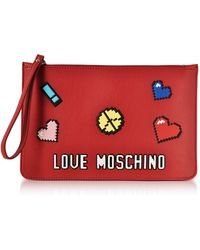 Love Moschino - Love Pixel Red Eco-leather Clutch - Lyst