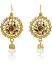 Alcozer & J - Round Earrings W/pearls - Lyst