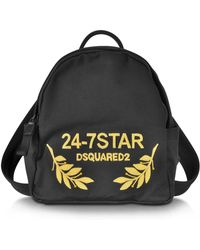 DSquared² - 24-7 Star Icon Black Canvas Small Backpack - Lyst