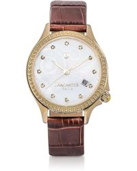 Lancaster - Goccia Gold Tone/brown Croco Stainless Steel Watch - Lyst
