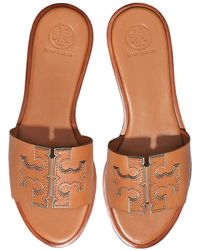 Tory Burch - Tan Calf Leather Ines Slides - Lyst
