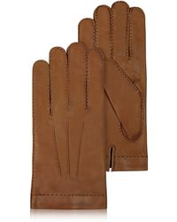 6887d817a1eb FORZIERI - Men s Cashmere Lined Brown Italian Leather Gloves - Lyst