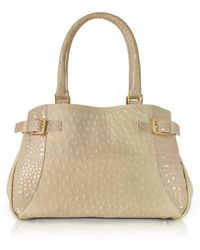 Fontanelli - Beige Gray Ostrich & Croco Embossed Leather Satchel Bag - Lyst