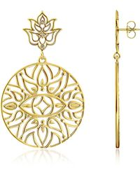 Thomas Sabo - 925 Sterling Silver & 18k Yellow Gold Plated Earrings W/white Diamond - Lyst