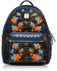 MCM - Dieter Loden Green Floral Camo Print Nylon Small Backpack - Lyst