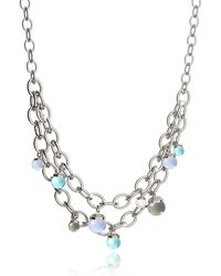 Rebecca - Hollywood Stone Rhodium Over Bronze Chains Necklace W/hidrothermal Stones - Lyst