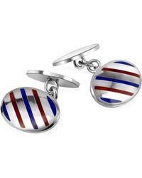 FORZIERI - Oval Striped Sterling Silver Double Sided Cufflinks - Lyst