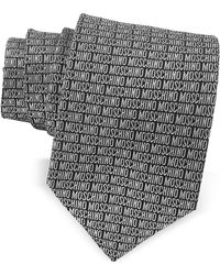 Moschino - Signature Print Black & Grey Jacquard Silk Tie - Lyst
