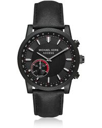 Michael Kors - Acess Men's Scout Black Ip And Black Leather Hybrid Smartwatch - Lyst