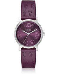 DKNY - Soho Purple Leather Women's Watch - Lyst